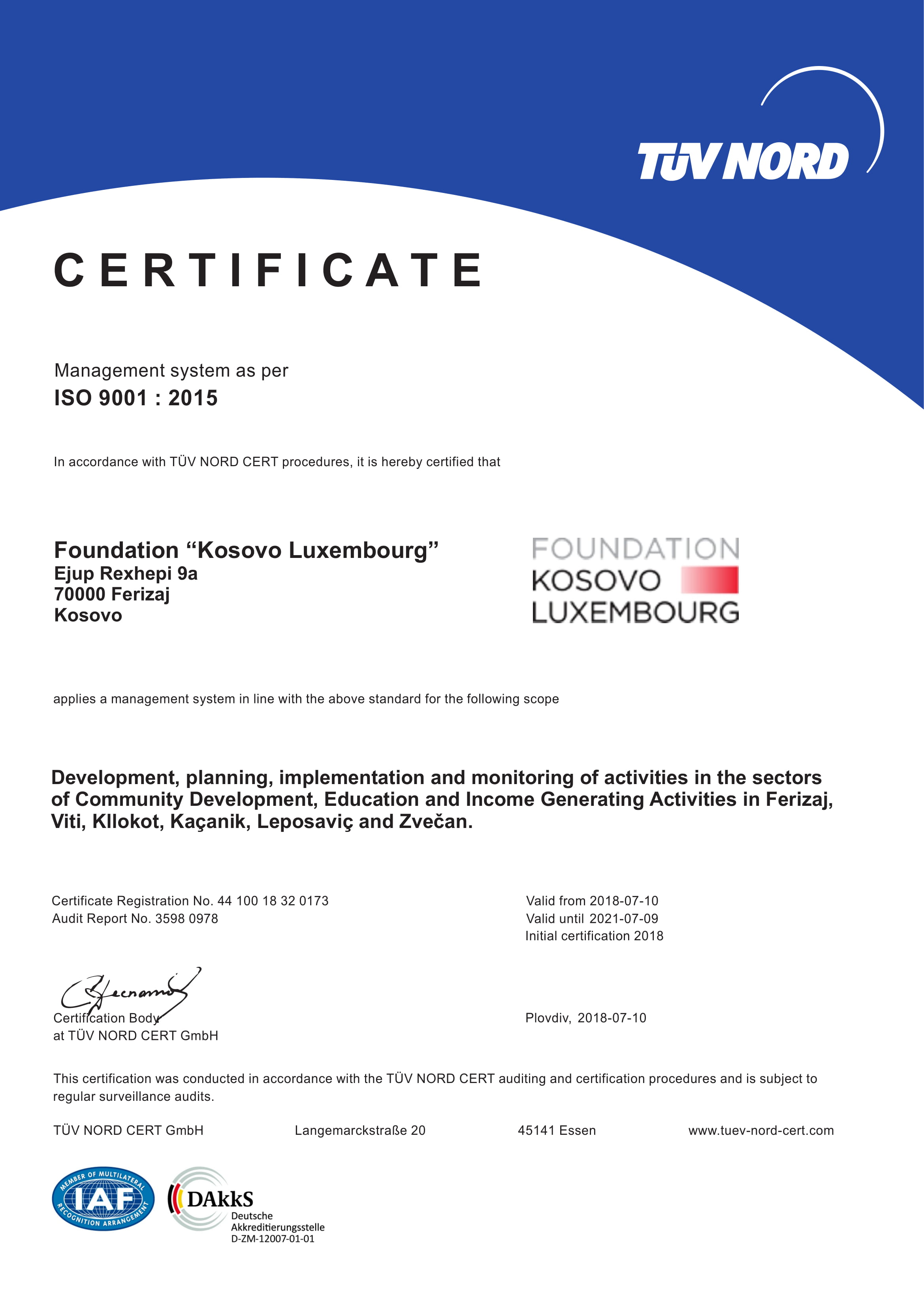 Foundation Kosovo Luxembourg Has Been Granted Iso 90012015 Quality